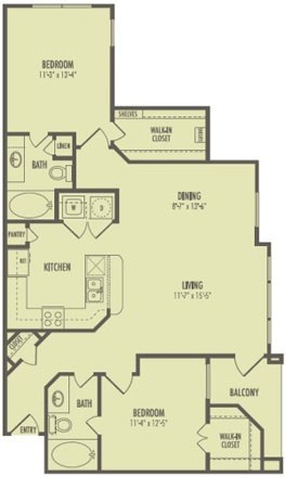1,075 sq. ft. B3/Savannah floor plan