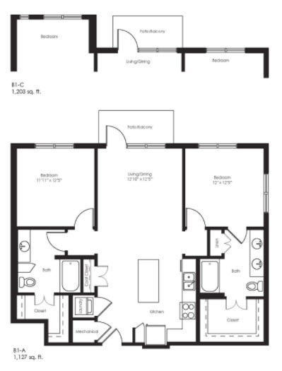 1,127 sq. ft. B1A floor plan
