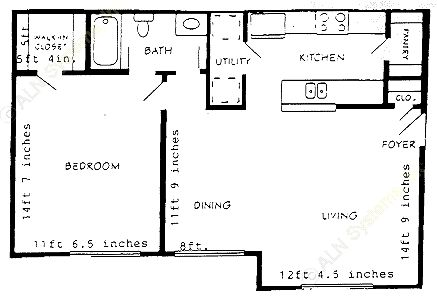 751 sq. ft. A1P floor plan