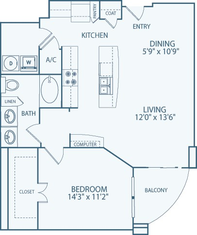 937 sq. ft. A12 floor plan