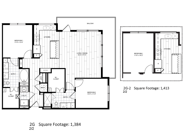1,413 sq. ft. 2G-2 floor plan