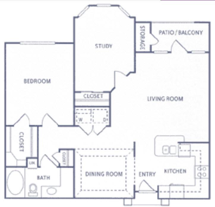 1,035 sq. ft. A3a floor plan