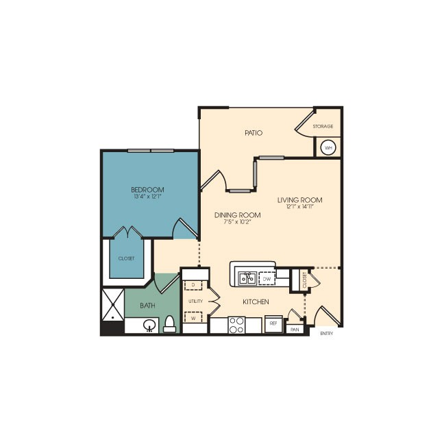 770 sq. ft. Monte Vista floor plan