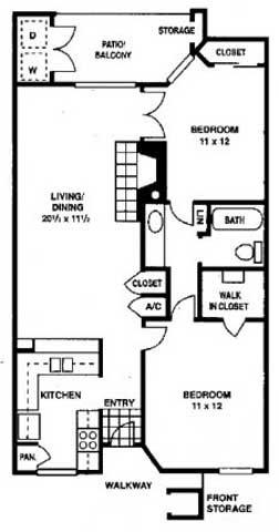 810 sq. ft. B floor plan