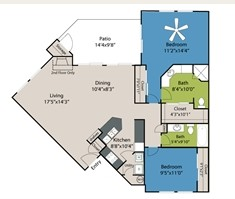 1,071 sq. ft. B2 floor plan