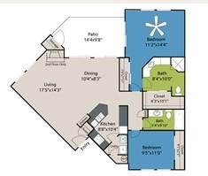 1,071 sq. ft. B2 floor plan