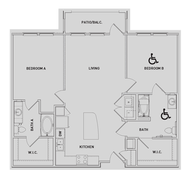 1,119 sq. ft. B2-ALT floor plan