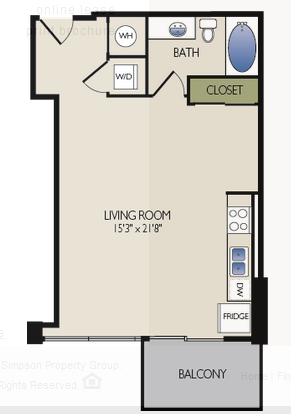 672 sq. ft. C4 floor plan