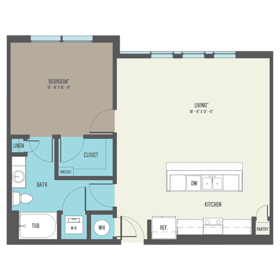 794 sq. ft. to 841 sq. ft. A5-A floor plan