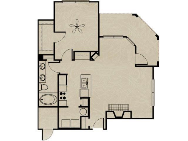 813 sq. ft. WNRA3 1X1 floor plan