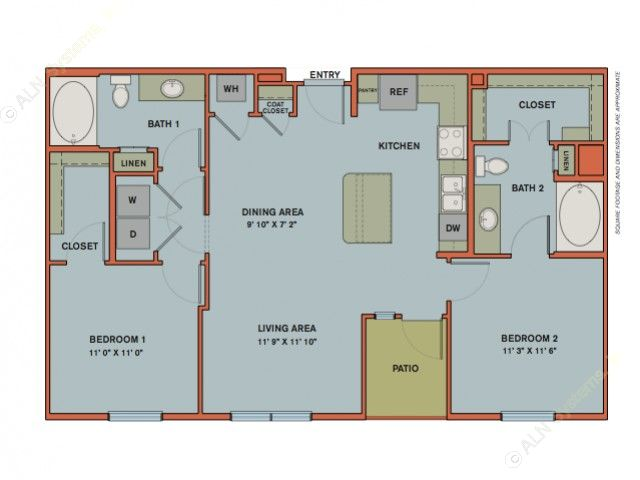 1,030 sq. ft. B2 floor plan