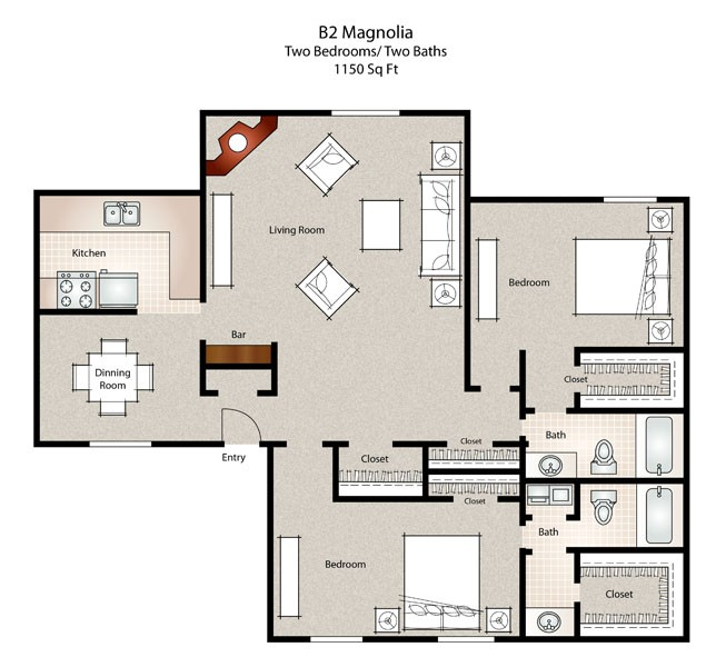 1,150 sq. ft. Magnolia floor plan