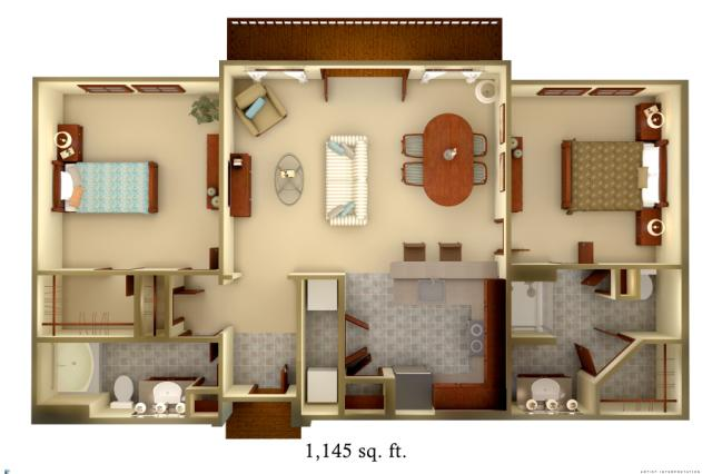 1,145 sq. ft. B3 floor plan