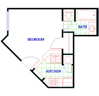 330 sq. ft. EFF floor plan