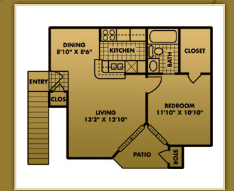 521 sq. ft. A-1 floor plan