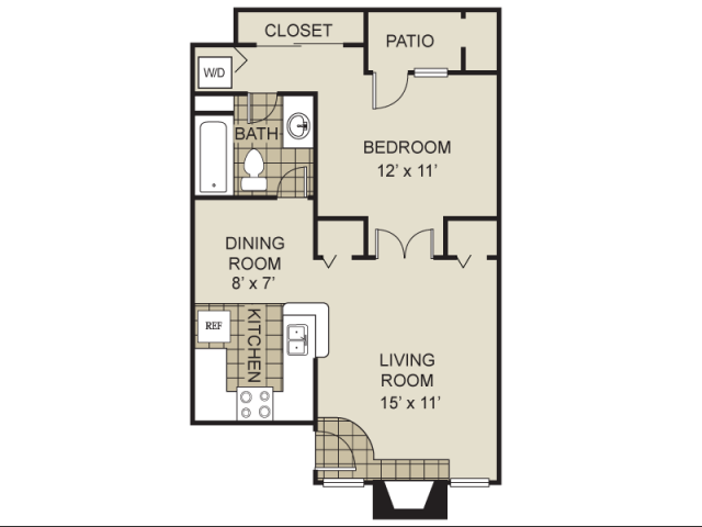 560 sq. ft. A1-C floor plan