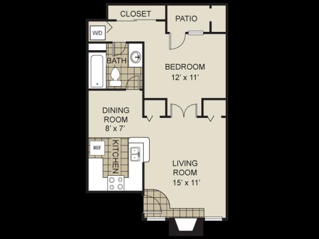 560 sq. ft. A1-C floor plan