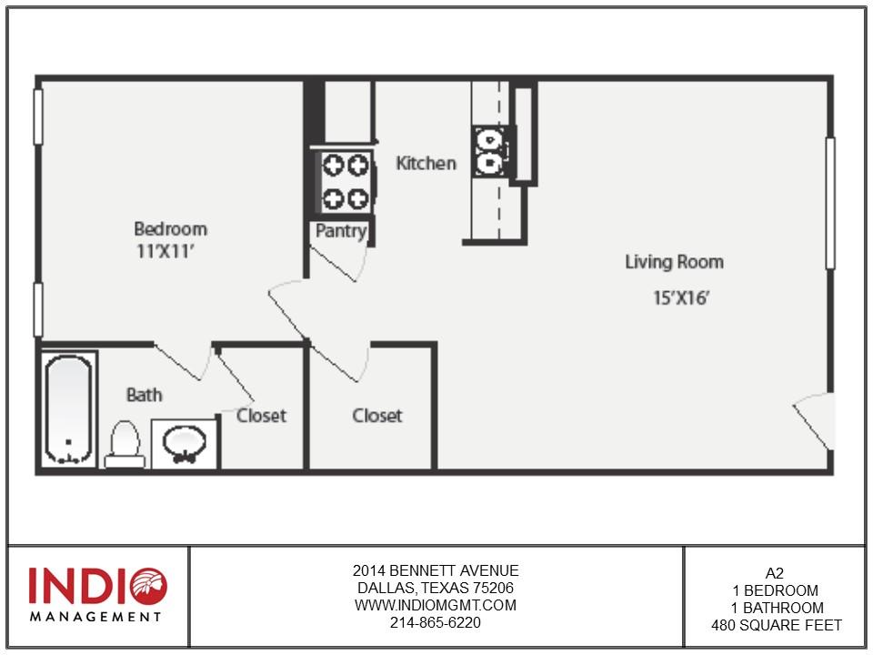 480 sq. ft. A2 floor plan