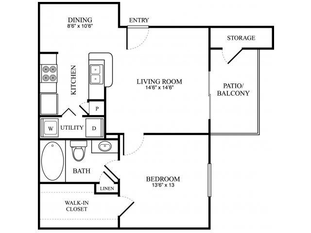 706 sq. ft. B floor plan