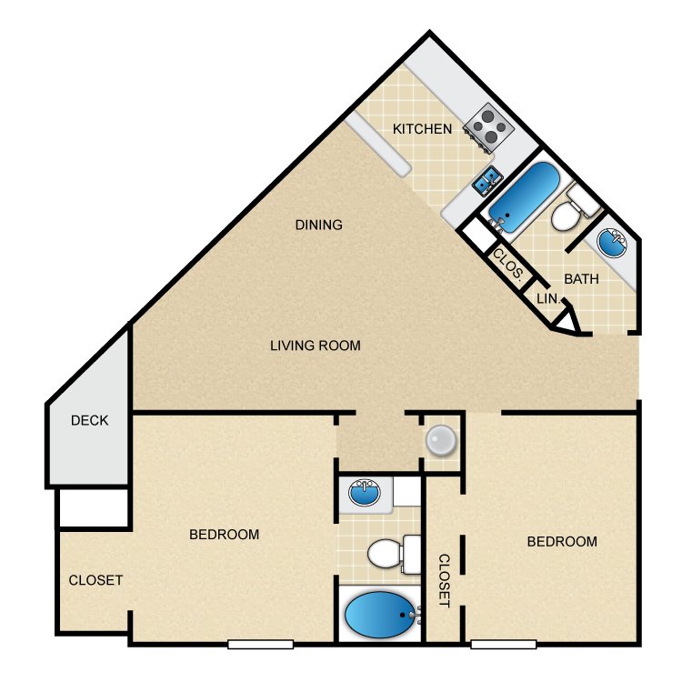 850 sq. ft. C1 floor plan
