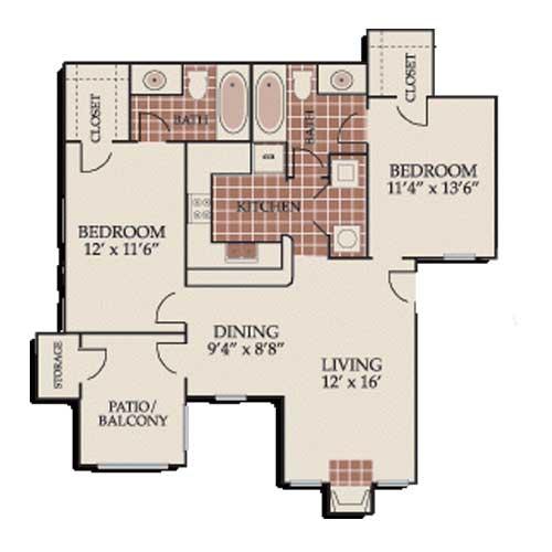 965 sq. ft. B2/ABP floor plan
