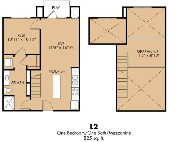 825 sq. ft. A12x loft floor plan