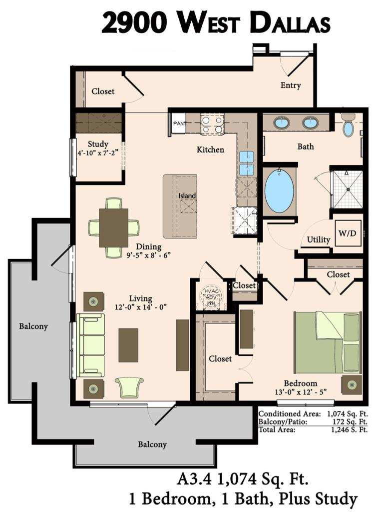 1,074 sq. ft. A3.4 floor plan