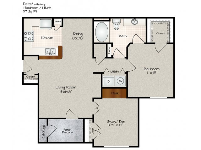 917 sq. ft. Delta floor plan