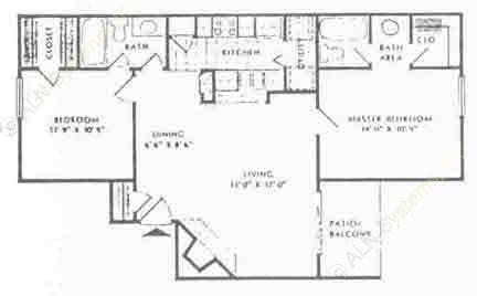 905 sq. ft. C floor plan