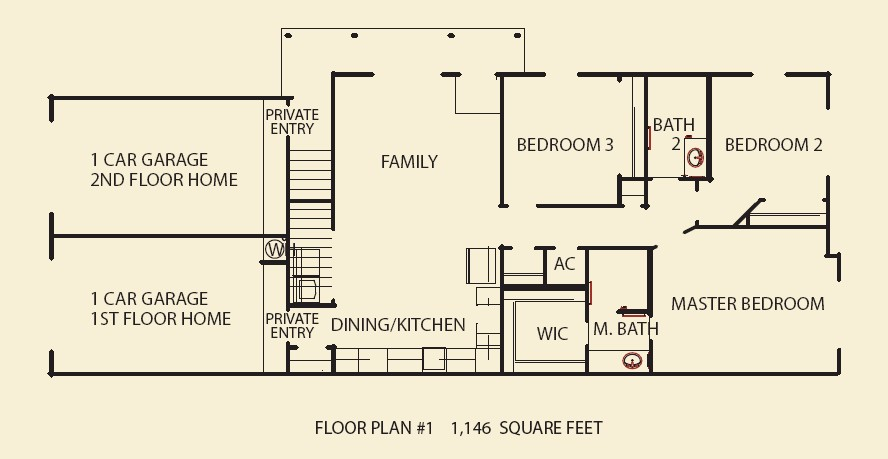 1,146 sq. ft. C1 floor plan