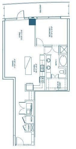 1,008 sq. ft. A2 floor plan
