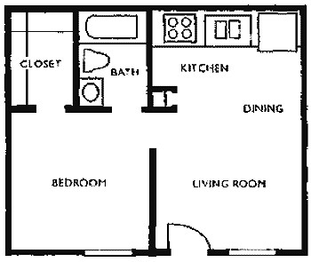 418 sq. ft. X floor plan