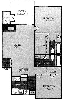 950 sq. ft. 80% floor plan