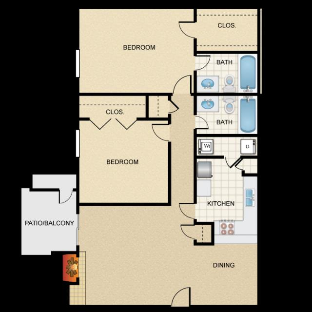 952 sq. ft. B1W floor plan