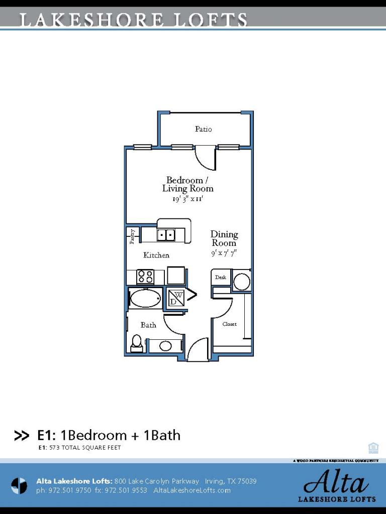 573 sq. ft. E1 floor plan