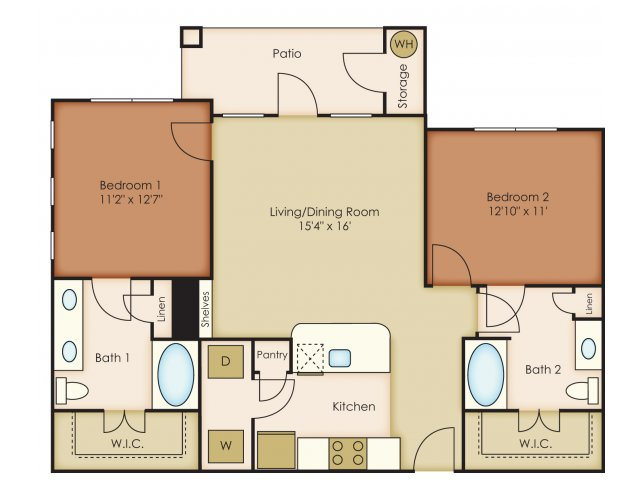 1,059 sq. ft. B2 floor plan