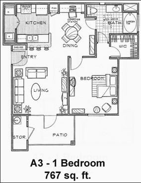 767 sq. ft. A3/60% floor plan