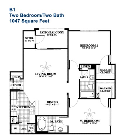 1,047 sq. ft. Refined floor plan