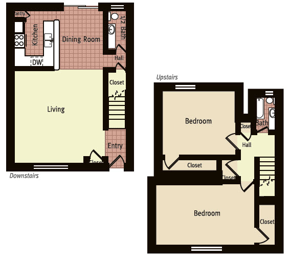 1,176 sq. ft. E floor plan