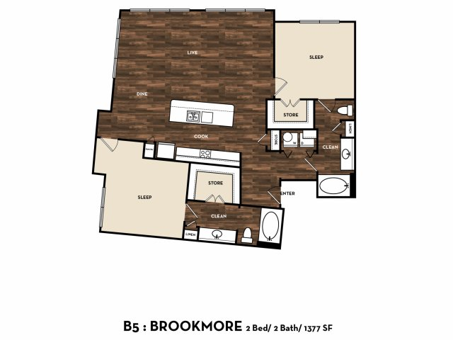 1,377 sq. ft. B5: Brookmore floor plan
