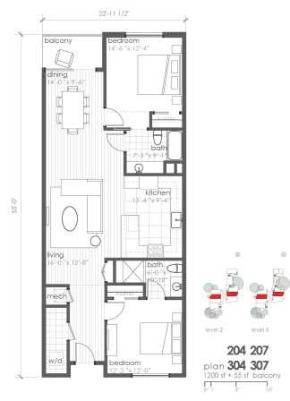 1,200 sq. ft. B7 floor plan