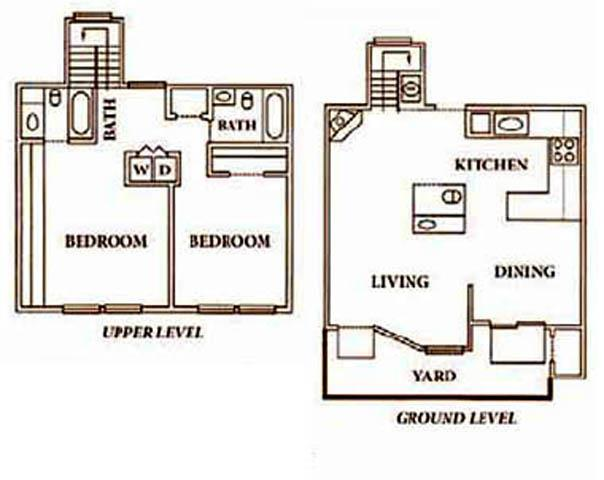 1,150 sq. ft. B2TH floor plan