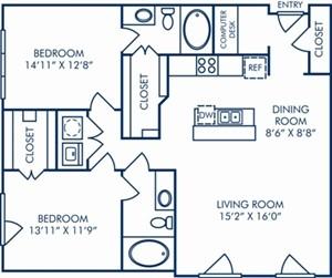 1,207 sq. ft. B3C floor plan