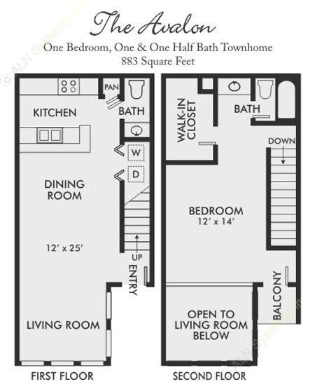 883 sq. ft. Avalon floor plan