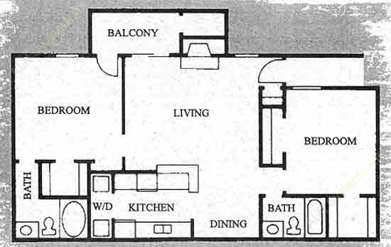 1,004 sq. ft. B-2 floor plan