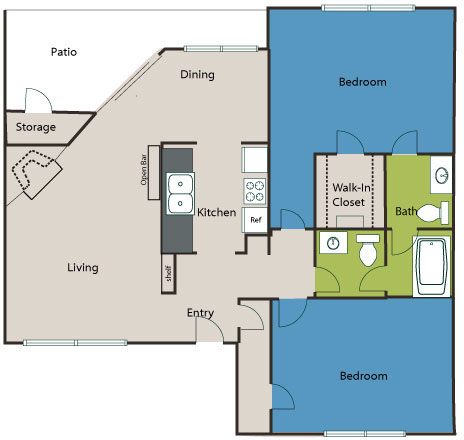 960 sq. ft. B1 floor plan