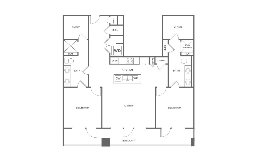 1,458 sq. ft. EB1.4 floor plan