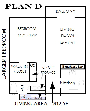 812 sq. ft. Sienna floor plan