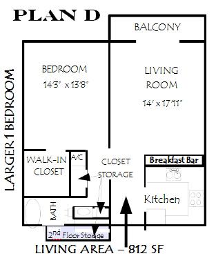 812 sq. ft. Sienna floor plan