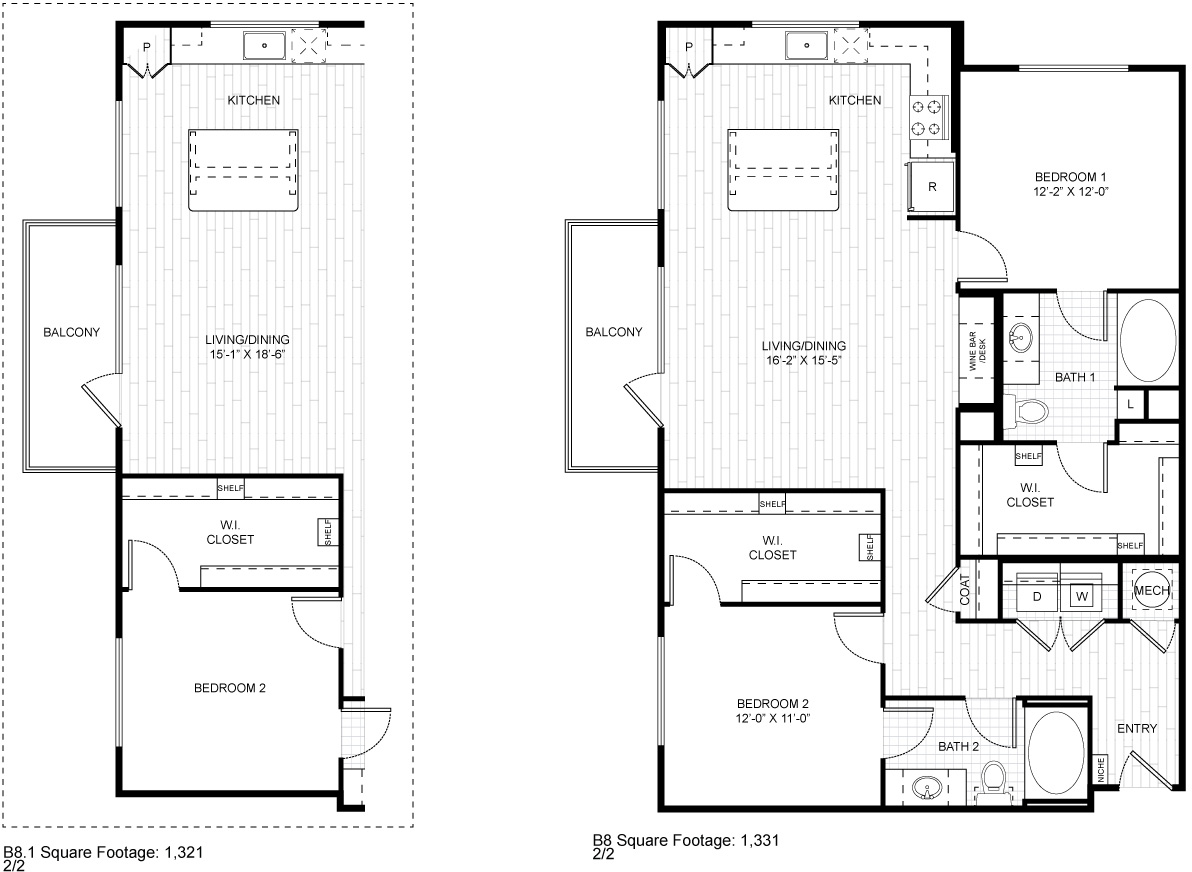 1,321 sq. ft. B8.1 floor plan